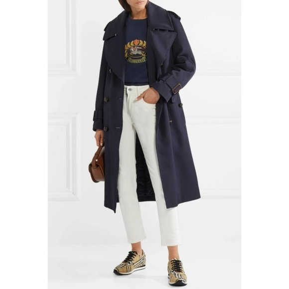 NWT Burberry Wool Belted Polyester-filling Trench Coat